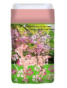 Spring Greeting With Poem Duvet Cover