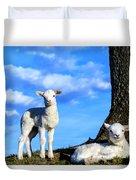 Spring Lambs Evening Light Duvet Cover