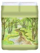 Spring Landscape, Watercolours Duvet Cover