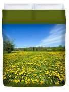 Spring Meadow Full Of Dandelions Flowers And Green Grass Duvet Cover