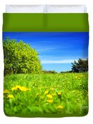Spring Meadow With Green Grass Duvet Cover