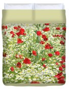 Spring Meadow With Poppy And Chamomile Flowers Duvet Cover