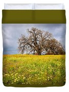 Spring Oak Tree And Wildflowers Duvet Cover