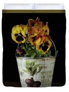 Spring Pansy Flowers In A Pail Duvet Cover