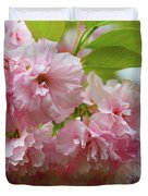 Spring Pink, Green And White Duvet Cover