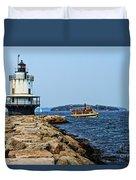 Spring Point Ladge Lighthouse - Maine Duvet Cover