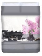 Spring Rain  Electric Train Duvet Cover