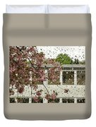 Spring Rain Outside The Window And Sakura Duvet Cover