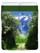 Spring Road To Mountains Duvet Cover