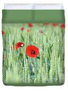 Spring Scene Green Wheat And Poppy Flowers Duvet Cover