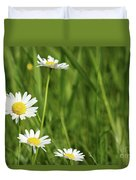 Spring Scene White Wild Flowers Duvet Cover