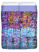 Spring Time In The Woods Abstract Oil Painting Duvet Cover