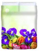 Spring Tulips And Irises Duvet Cover