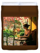 Spring, View From A Cafe Window In Paris Duvet Cover