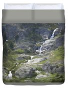 Spring Waterfall In The Tetons Duvet Cover