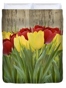 Spring Yellow And Red Tulips Duvet Cover