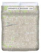 Springfield Missouri Us City Street Map Duvet Cover