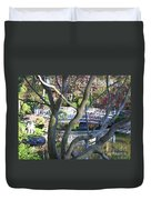 Springtime Bridge Through Japanese Maple Tree Duvet Cover by Carol Groenen