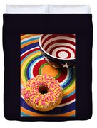 Sprinkled Donut On Circle Plate With Bowl Duvet Cover