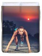 Sprinter Woman On The Start Duvet Cover
