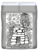 Square Rock Fairy House And Squirrel Duvet Cover