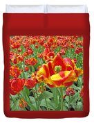Square Yellow And Red Tulips Duvet Cover