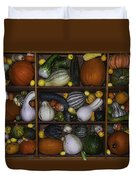 Squash And Gourds In Compartments Duvet Cover