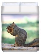Squirrel Eating Crab Apple Duvet Cover