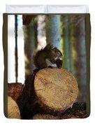 Squirrel Eating Pinecones Duvet Cover