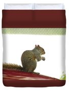Squirrel On Car Duvet Cover
