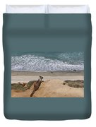 Squirrel Soaking In The Ocean View   Duvet Cover