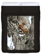 Squirrels At Play Duvet Cover