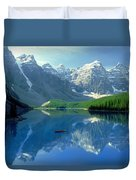 S.short Canoeist, Moraine Lake, Ab, Fl Duvet Cover by Steve Short