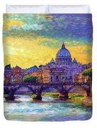 St Angelo Bridge Ponte St Angelo Rome Duvet Cover