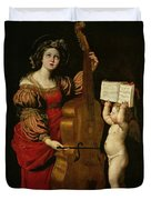 St. Cecilia With An Angel Holding A Musical Score Duvet Cover by Domenichino