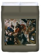 St Francis Of Assisi In The Portiuncula With  Donors Antonio Contreras And Maria Amezqueta Duvet Cover