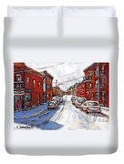 St Henri Depanneur Canadian Paintings Mini Montreal Masterpieces For Sale Petits Formats A Vendre  Duvet Cover