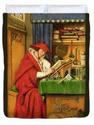 St. Jerome In His Study  Duvet Cover by Jan van Eyck