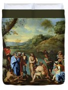 St John Baptising The People Duvet Cover by Nicolas Poussin