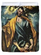 St Joseph And The Christ Child 1599 Duvet Cover