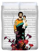 St Joseph Holding Baby Jesus - Catholic Church Qibao China Duvet Cover