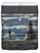 Big Waves - St. Joseph Lighthouse Duvet Cover