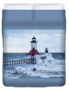 St. Joseph Lighthouse With Waves Duvet Cover
