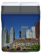 St Lawrence Market And Gooderham Flatiron Building With Cn Tower Duvet Cover
