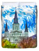 St. Louis Cathedral - Paint Duvet Cover