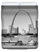 St Louis City Scape In Black And White Duvet Cover