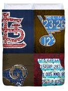 St Louis Sports Fan Recycled Vintage Missouri License Plate Art Cardinals Blues Rams Duvet Cover