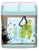 St. Martin St. Maarten Map Duvet Cover