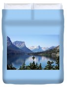 St Mary Lake - Glacier National Park Mt Duvet Cover by Christine Till