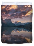 St Mary Lake At Dusk Panorama Duvet Cover